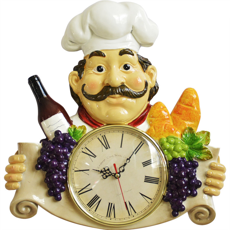 Excellent Us 42 37 25 Off American Country Creative Chef Wall Clock Living Room Kitchen Restaurant Mute Clock Retro Personality Art Decoration Hanging In Wall Home Interior And Landscaping Transignezvosmurscom