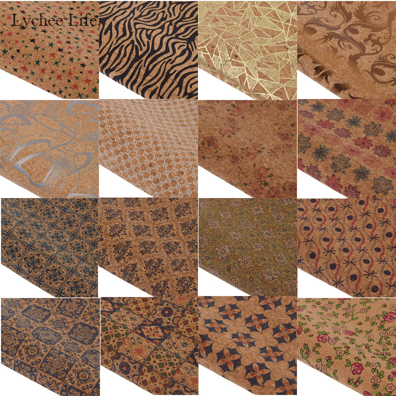 Lychee Life 16 Styles Vintage Star Flower Printed Synthetic Leather Fabric Soft Cork Sewing Leather For Bags Garment Diy Crafts