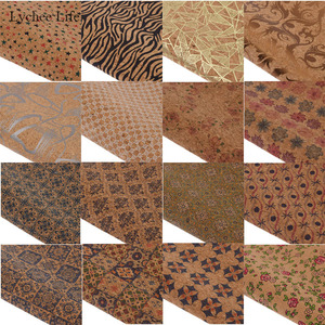 Lychee Life 16 Styles Vintage Star Flower Printed Synthetic Leather Fabric Soft Cork Sewing Leather For Bags Garment Diy Crafts(China)