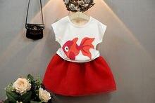 2Pcs Baby Girls Princess  Kids Tops T shirt Skirts Summer Party Girls Clothing Set Girls Clothes Set 1-6Years