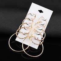 RscvonM 5 paare/satz Mode Trendy Runde Gold Farbe Rock Punk Stud Ohrringe Set Für Frau Partei Damen Ohrringe Ohr Jewery