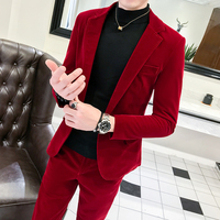 Spring and Summer Business Men's Suit Two piece Fashion Trend Red Suit Suit Casual Banquet Party Gentleman