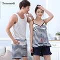 Couple Pajamas Set Summer Cotton Short-sleeved Fashion Sleep Womens Pajamas Sling Wear Pajama Set Men