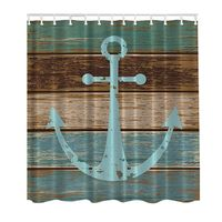 3D Decor Collection Nautical Anchor Rustic Wood Seascape Picture Print Bathroom Set Fabric Shower Curtain With