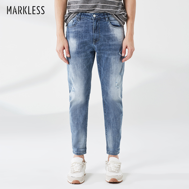 Painstaking Markless Cotton Jeans Men 2019 Spring Light Blue Slim Fit Denim Trousers Brand Fashion Ripped Men Jeans Nza9006m Men's Clothing