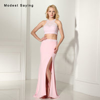 Sexy Backless Mermaid Pink Crop Top Prom Dresses 2017 with Ivory Pearls Formal Women Long Birthday Party Gowns vestido de festa