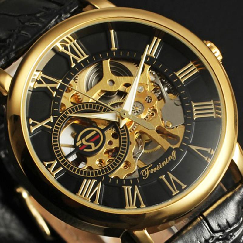 Prix pour Forsining Or Hommes Montres Squelette Mécanique Montres Hommes Horloge Hommes de Montre De Luxe Célèbre Marque Hodinky Relogio Masculino