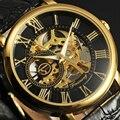 Forsining reloj mecánico esquelético de los hombres reloj de los hombres del reloj de lujo famosa marca de cuero de oro relojes de pulsera hombre relogio masculino