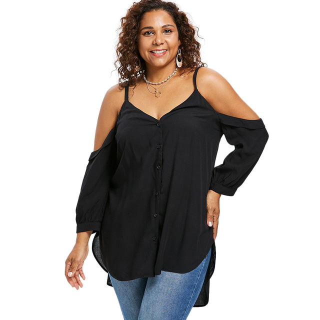 wipalo Plus Size Women V Neck Cold Shoulder Long Sleeve Button Up Tunic  Black Blouses High Low Top Shirt Clothing Blusas 5XL 85e4a8a77c66