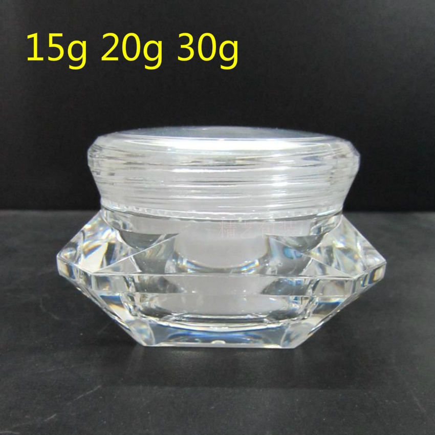 25pcs 15g 20g 30g Mini Clear Diamond Shape Bottles Acrylic Cream Jar Containers Small Sample Packaging