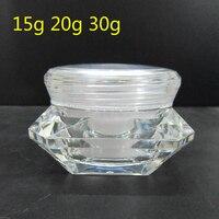 25 шт. 15 г 20 г 30 г мини прозрачные стразы формы бутылки Акриловая банка для крема контейнеры маленькие для упаковки образцов баночка для косме...
