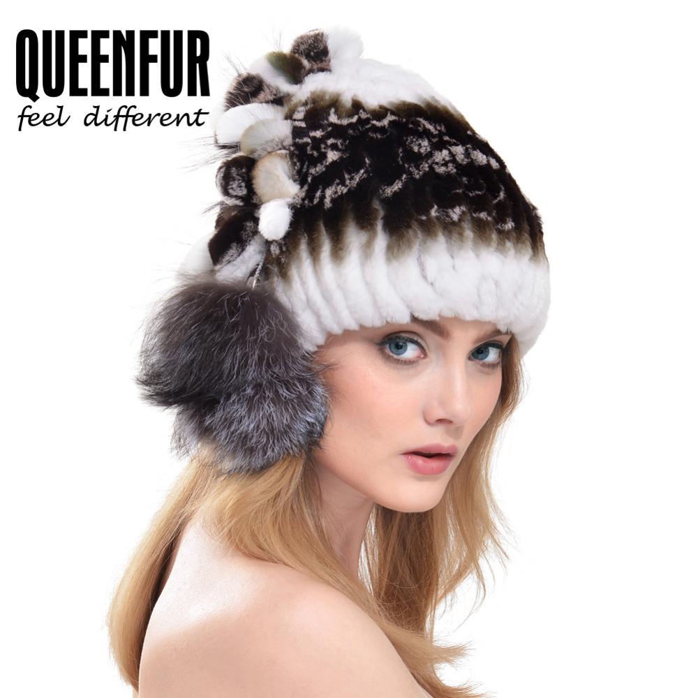 029e700010e QUEENFUR Skuiiles 2016 New Arriveal Rex Rabbit Fur Cap With Fox Fur Ball  Side Headgear Women Fashion Beanies Hats With Lining-in Skullies   Beanies  from ...