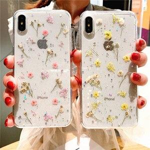 Прозрачный чехол с натуральным сухим цветком для iPhone 8 7 Plus 6 6s, прозрачный чехол с эпоксидной звездой для iPhone X XR 11 Pro XS MAX, мягкий чехол