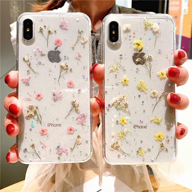 Funda transparente con purpurina y flores secas reales para iPhone 8, 7 Plus, 6, 6 s, Epoxy Star, funda transparente para iPhone X, XR, 11 Pro, XS, MAX, funda blanda