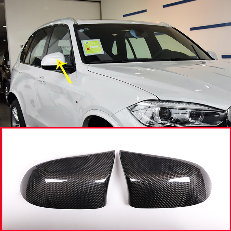 Real Carbon Fiber Side Rearview Mirror Cover Trim For BMW X3 X4 X5 X6 F25 F26 F15 F16 2013 2018 Car Accessories Chromium Styling     - title=