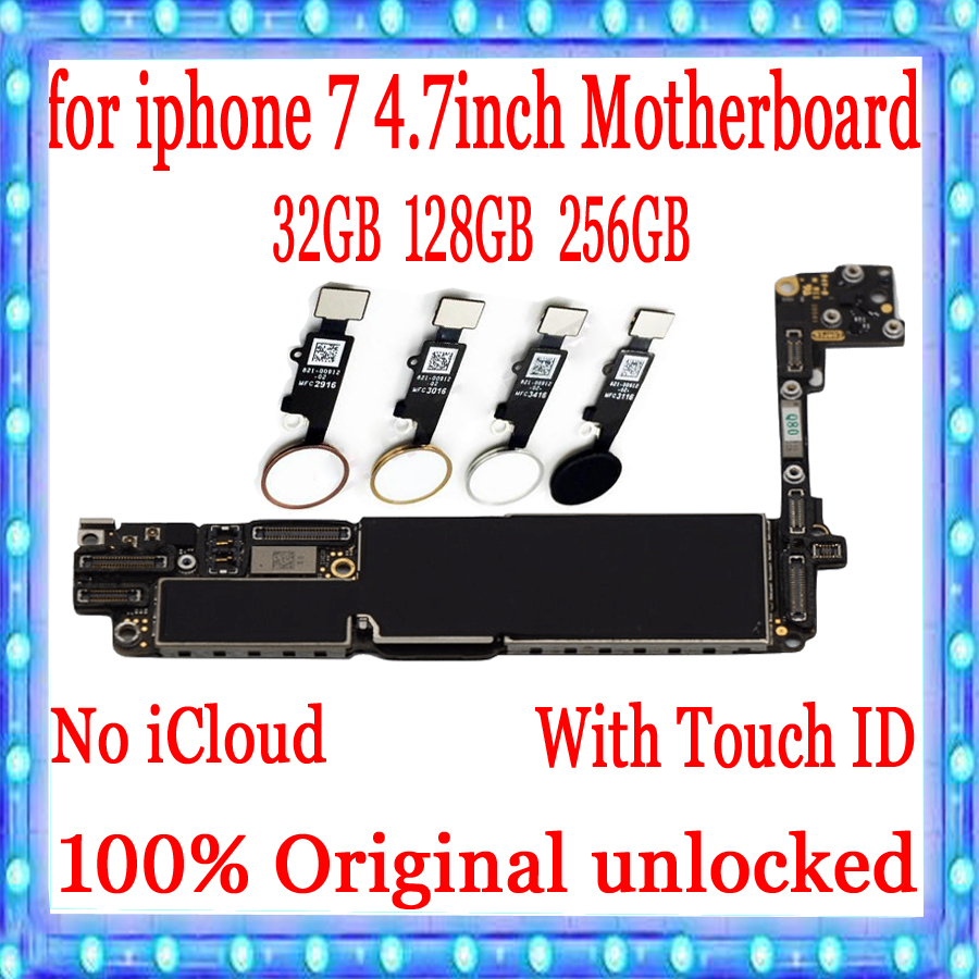 For iPhone 7 4 7inch Motherboard Unlock Mainboard With Touch ID Without Touch ID Plate 100