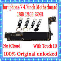 For iPhone 7 4.7inch Motherboard Unlock Mainboard With Touch ID/Without Touch ID Plate 100% Original IOS Installed Logic Board