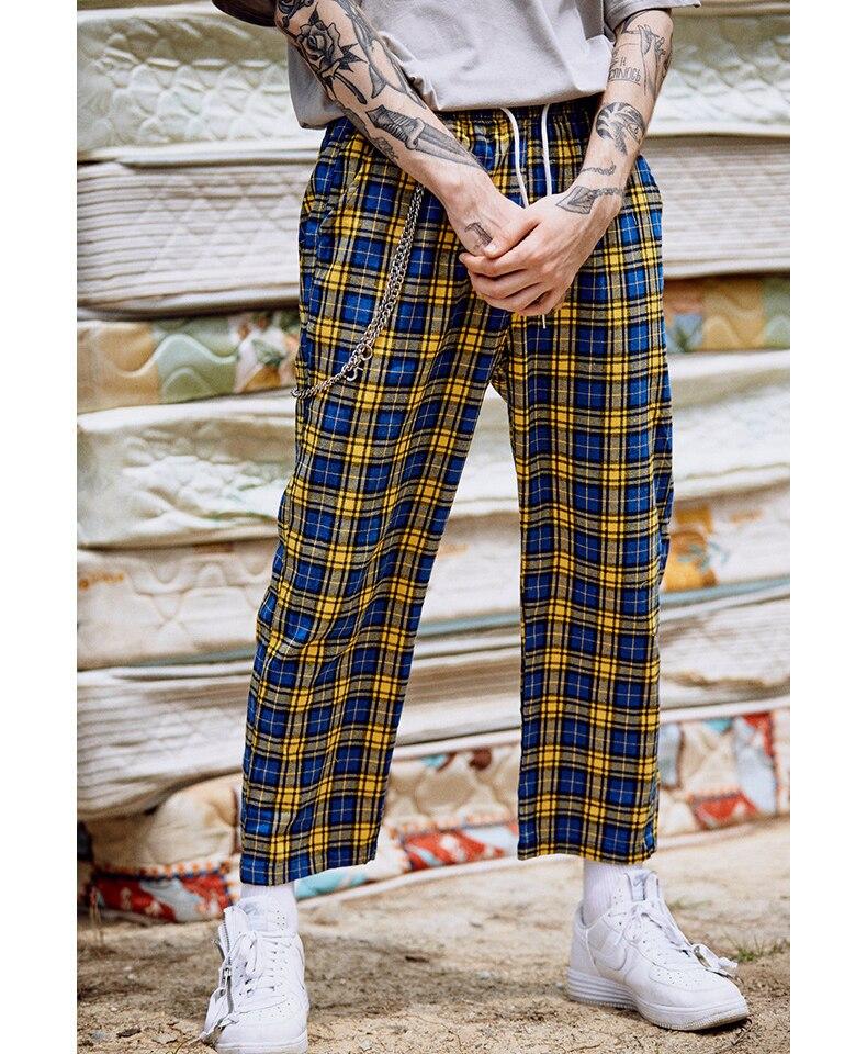 Lattice Striped Wide Leg Unisex Pants Women Pants Leisure Sporting Casual Drawstring Baggy Male Female Hip Hop Retro Trousers