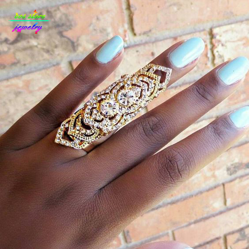 Top Quality Man Fashion Ring 18K Genuine Gold Plated  Crystals Sheild Resizable Full Finger Ring Knuckle Armor Rings For Women   blouse