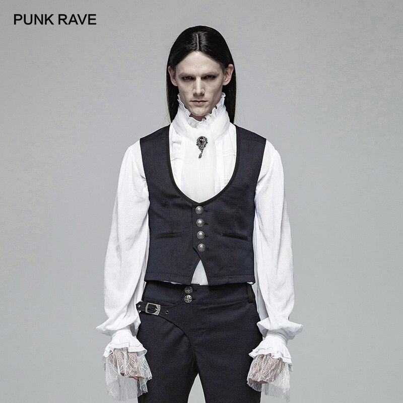 펑크 레이브 새로운 빅토리아 고딕 남성 신사 영국 스타일 간단한 다크 블루 자카드 조끼 레트로 패션 캐주얼 남성 조끼-에서조끼 & 조끼부터 남성 의류 의  그룹 1