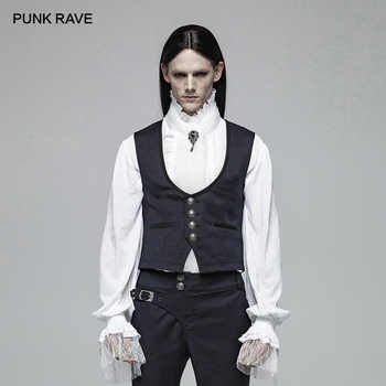 PUNK RAVE New Victorian Gothic Men's Gentleman England Style Simple Dark Blue Jacquard Vest Retro Fashion Casual Men Waistcoat - DISCOUNT ITEM  30% OFF All Category