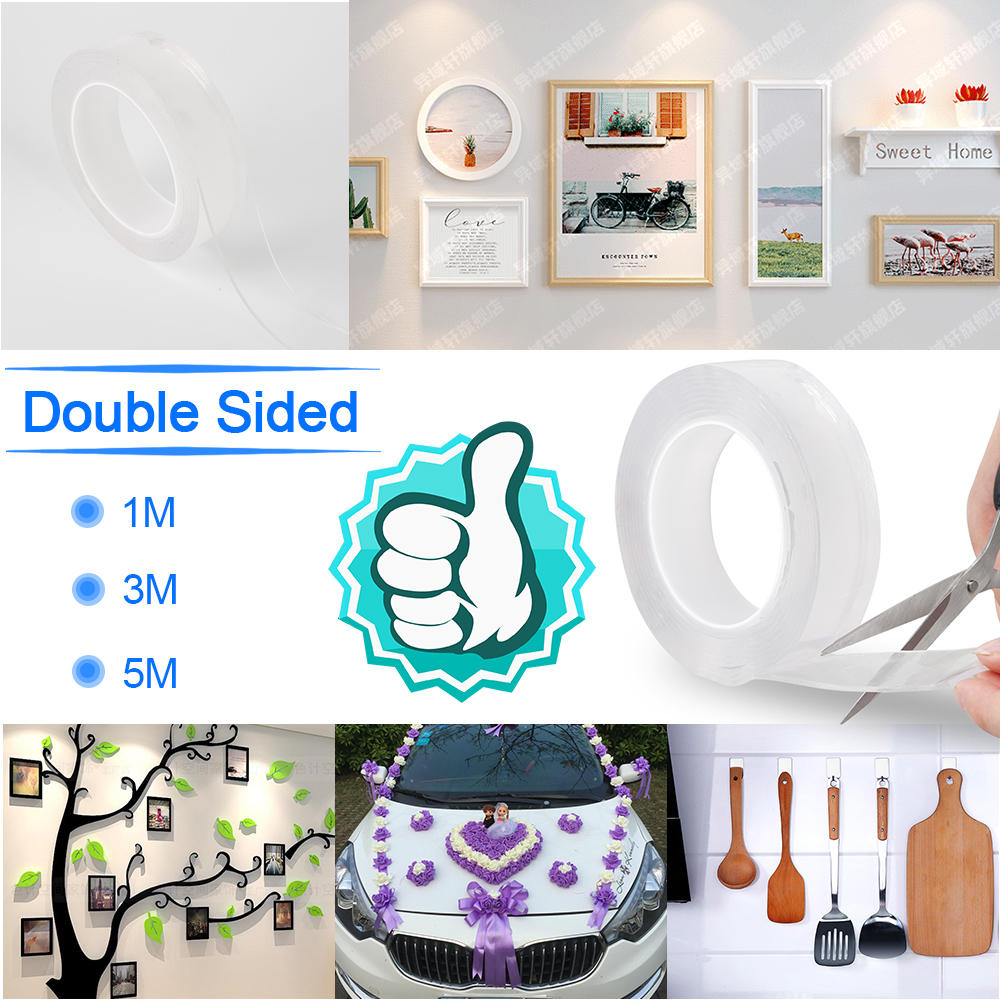 1m Reusable White Durable Hook And Loop Fastener Tape Magic Nano-Traceless  Sticker Washable Adhesive Loop Disks Tie Glue Gadget