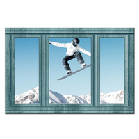 Large Canvas Wall Art Teal Window Style Ski Sport Snow Mountain Winter Landscape Photo Picture Print On Canvas Bedroom Decor