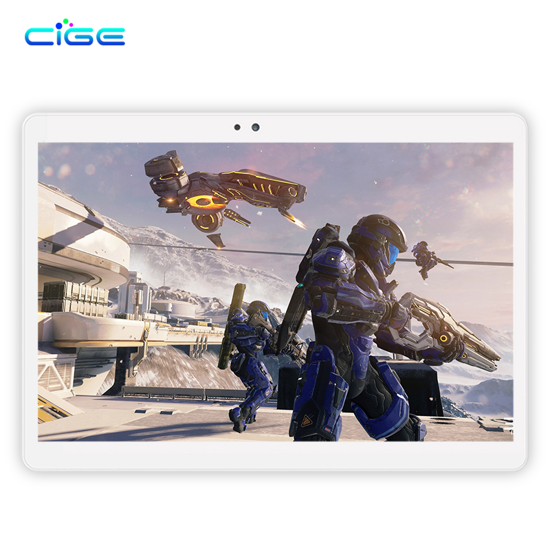 CIGE Tablet PC 10.1 Inch Android 6.0 Octa Core 4GB RAM 64GB RAM 1920x1200 HD IPS Dual SIM and Camera WiFi GPS Bluetooth FM waywalkers 10 inch tablet pc android 7 0 octa core ram 4gb rom 32 64gb 1920 1200 ips dual sim wifi bluetooth gps tablets phone