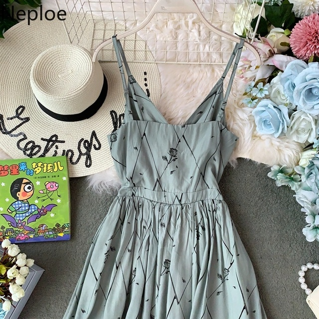 Neploe Print Women Dress New V-Neck Sleeveless Camis Vestidos 2019 Summer Fashion Pleated High Waist Female Robe 44971