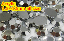 Silver Hematite Color 1.5~12mm All size Choice Flat Back Round Acrylic rhinestone,Acrylic Resin 3D Nail Art / Garment Rhinestone