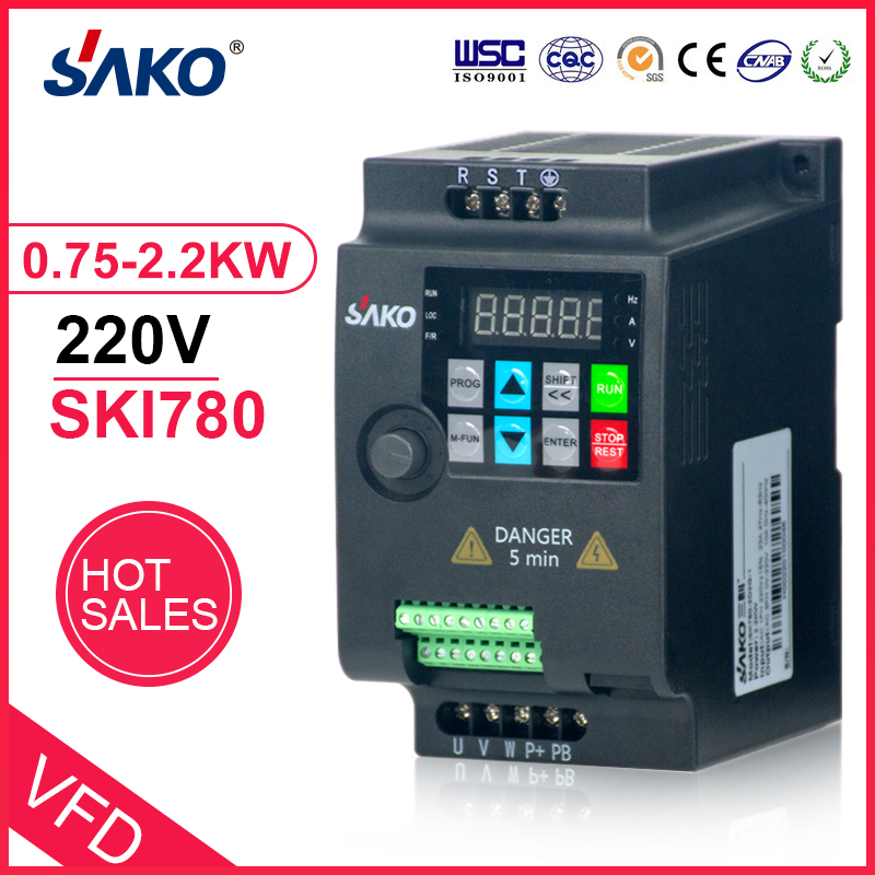 SAKO SKI780 220V 0.75KW/1.5KW/2.2KW 1HP Mini VFD convertisseur de fréquence Variable pour inverseur de fréquence de contrôle de vitesse de moteur