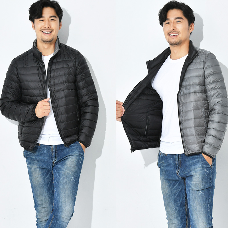New Man Two Side Wear Duck Down Jacket Ultra Light Winter Jackets Men Fashion Spring Outerwear Coat Double Side Casual Jacket