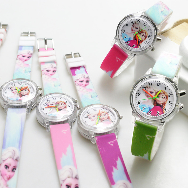 Princess Elsa Children Watches Spiderman Colorful Light Source Boys Watch Girls Kids Party Gift Clock Wrist Relogio Feminino 3