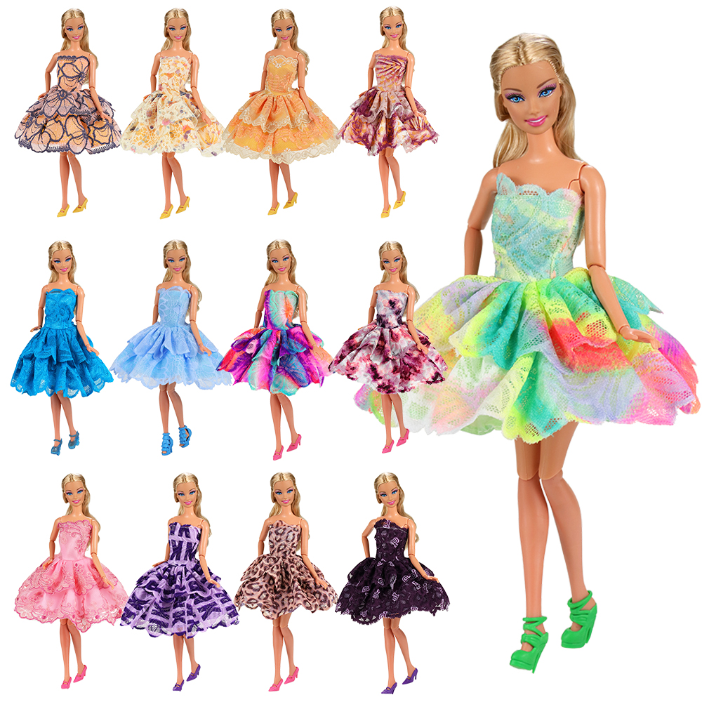 2019 Newest fashion 10 items/lot=5 doll dresses +5 shoes random pick accessories outfit skirts for barbie 11.5-12 inch