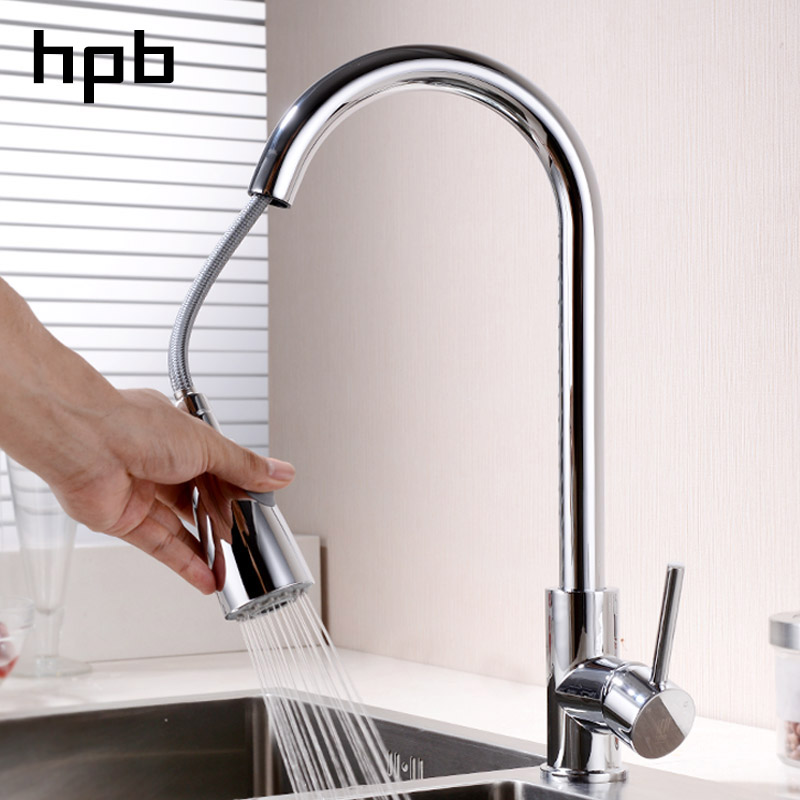 HPB Pull Out Kitchen Faucet Mixer Tap Rotatable Single Handle Sink Faucet Brass Chrome Brushed Finish Hot and Cold Water black chrome kitchen faucet pull out sink faucets mixer cold and hot kitchen tap single hole water tap torneira