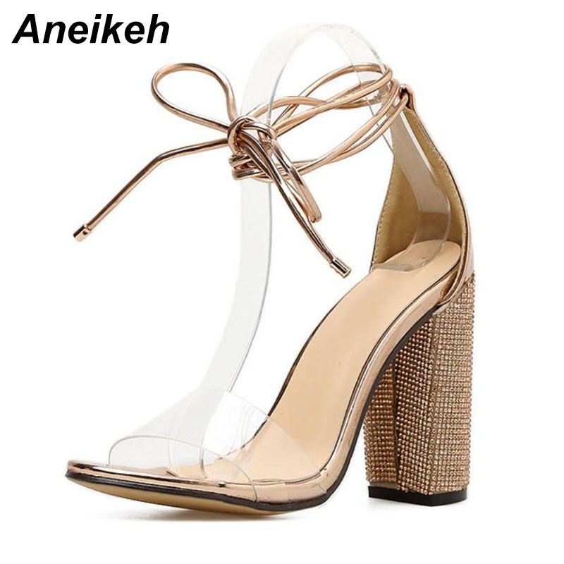 Aneikeh Women High Heels Sandals Summer Square Heels Crystal Heeled Platform Shoes Ladies Sexy Party Wedding Lace Up Shoes 3