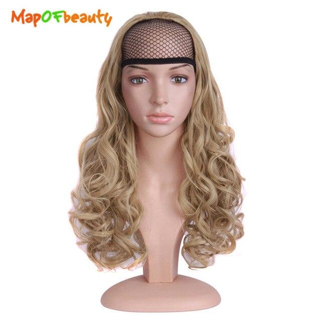 MapofBeauty Half Head Wig Blonde Dark Brown 24