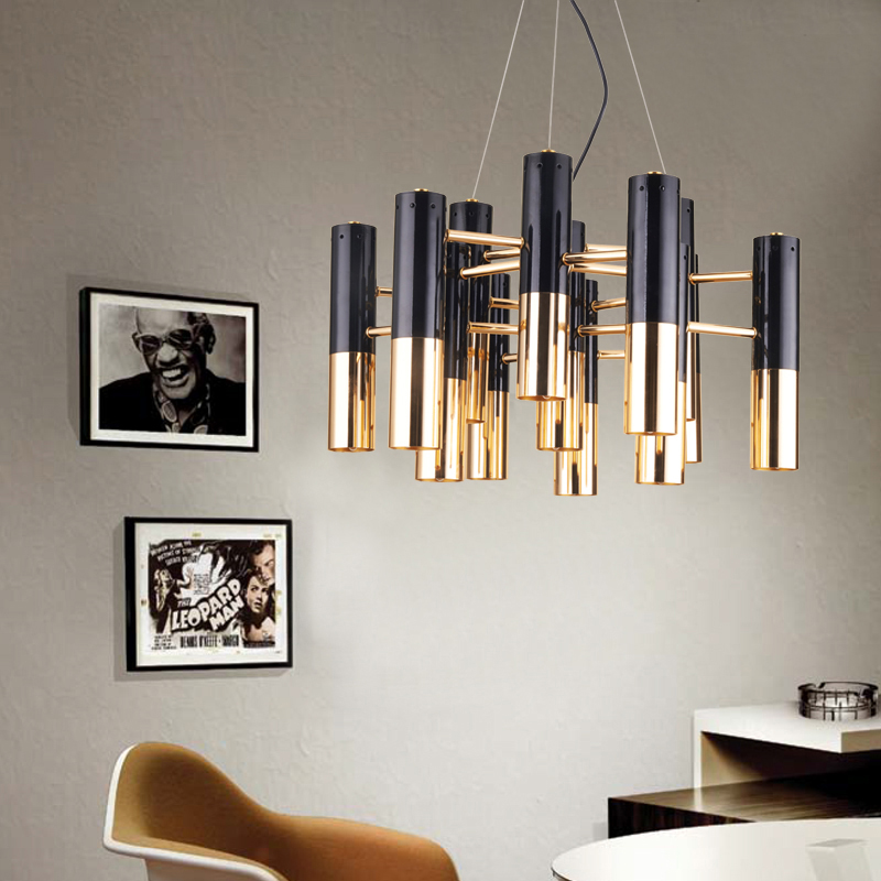 Nordic postmodern designer metal pipe chandelier cafe dining room bar counter villa retro industrial chandelier ...