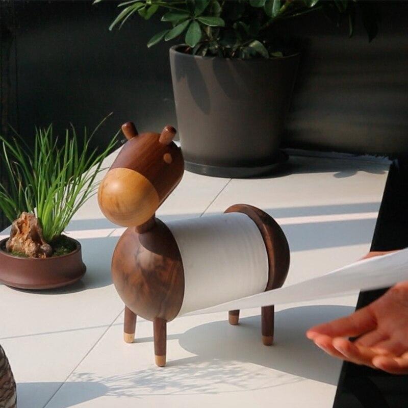 Support de rouleau de noyer noir distributeur mignon table à manger support de papier nordique salon bureau mignon Meng support de tissu LO62337