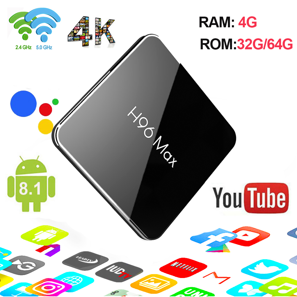 H96 MAX X2 Andoid 8.1 Amlogic S905X2 android box 4G RAM 32G/64G ROM prise en charge 2.4G/5.8G wifi Netflix, Youtube pk H96 MAX +