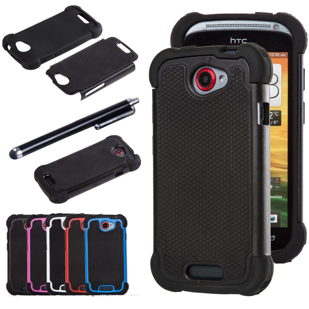 Dual Layer Impact Heavy Duty Rugged Hybrid Hard Case Cover for HTC ONE S Case Silicone Shell W/Stylus Pen Free Shipping ...
