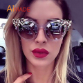 Aimade 2017 Luxury Brand New Designer Rhinestone Decoration Cat Eye Sunglasses Women Fashion Twin-Beams Cateye Sun Glasses UV400