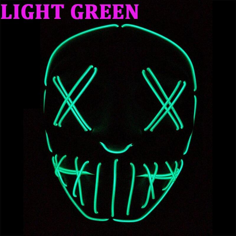 100 ensembles nouveau masque EL fil allumer néon crâne masque LED pour Halloween fête et Concert effrayant fête thème Cosplay série masques