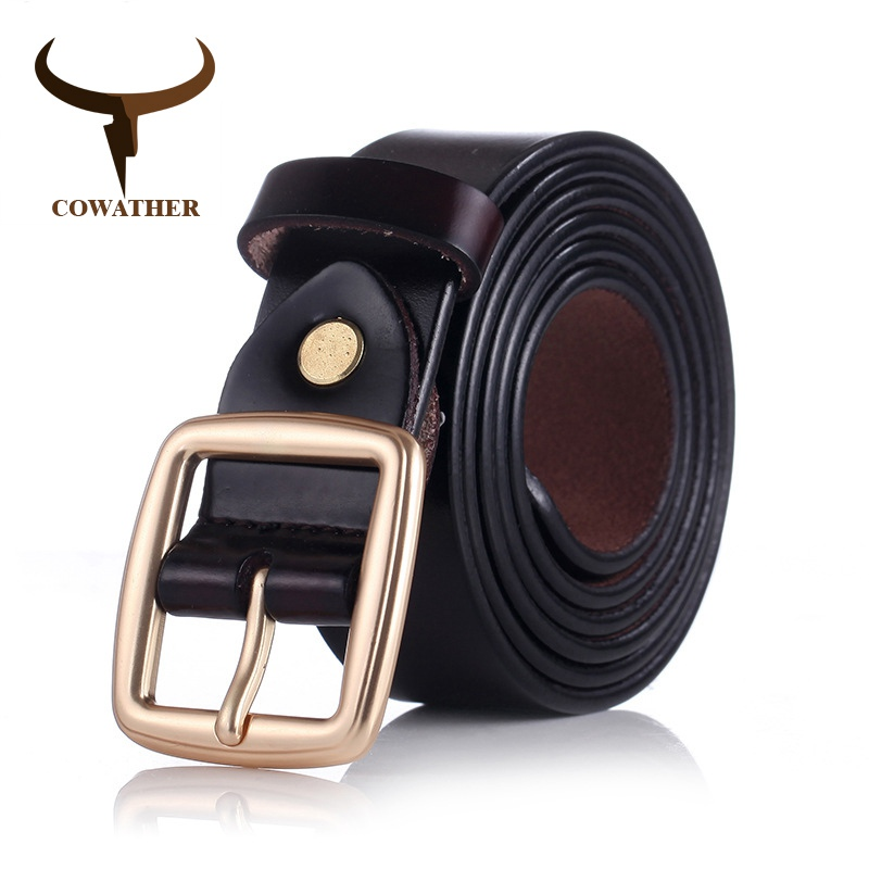 COWATHER 2018 women   belts   cow genuine leather pin buckle for women newest design vintage style   belt   high quality original brand