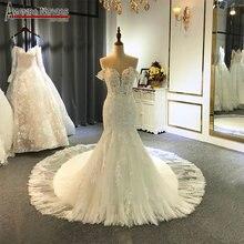 Nuovo al largo della spalla cinghie mariage abito da sposa semplice spiaggia abito da sposa