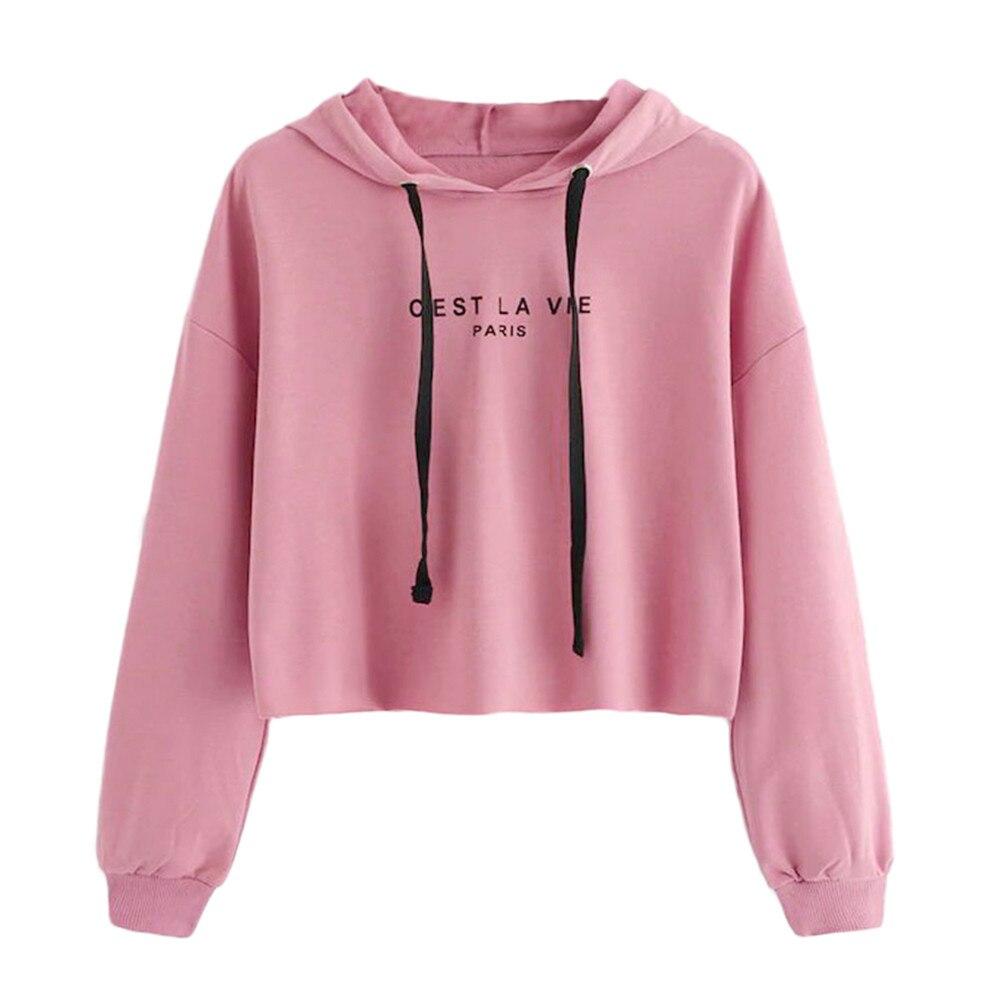 Autumn Female Long Sleeve Women Crop Top Sweatshirt Loose Hoodie Sweatshirt Jumper Pullover Solid Blouse Sudadera Mujer 2019
