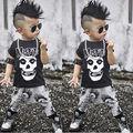 2 UNIDS Set Niños Bebés Cráneo Conjuntos Ropa Camiseta Tops + Leggins ropa de niño Recién Nacido