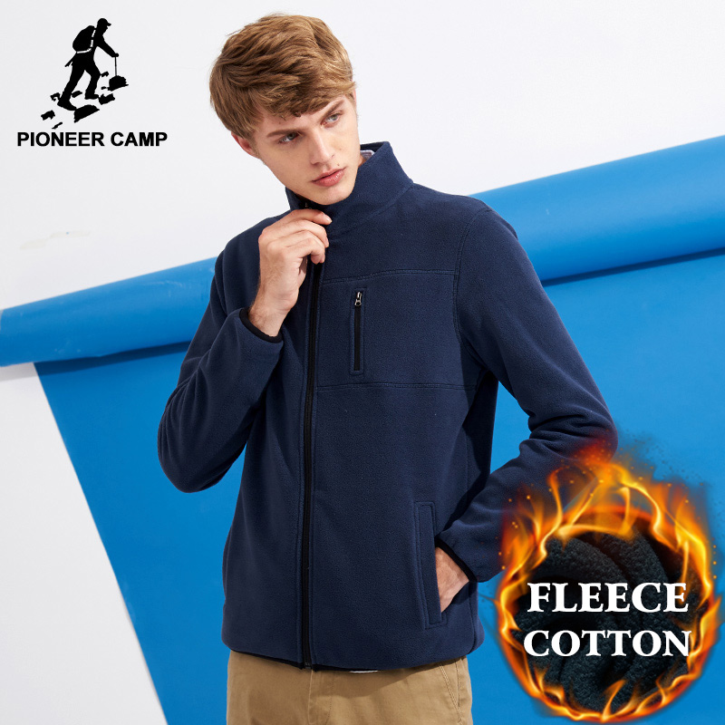 Pioneer Camp warm sweatshirts men fleece zipper hoodie male