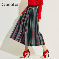 Clocolor Women Pants 2017 Black Loose Wide Leg Striped Patchwork Ankle Length Bowknot Fashion Vacation Summer