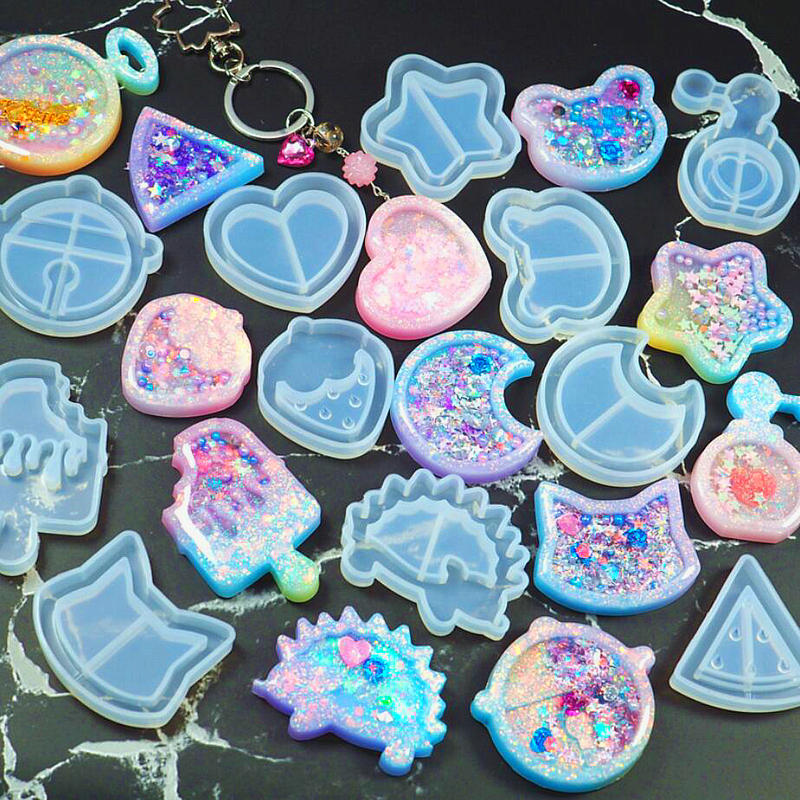 Kawaii Strawberry Shaker Silicone Molds Epoxy Resin Bear Star Popsicle Shaker Key Chain  ...